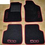 Tappeti per auto, set completo di Tappetini in Moquette su Misura Neri con Bordo Rosso e Ricamo a Filo Rosso SPEDIZIONE GRATIS