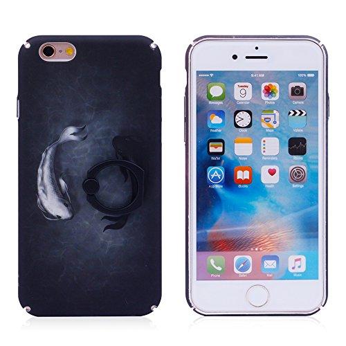 """iProtect Hardcase mit Ring Halter Marmor Design Schutzhülle in Schwarz mit Fingerhalterung für Apple iPhone 6 6s (4,7"""") Glücksfisch Koi"""