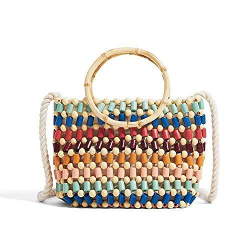 Holzperle Handtasche, Mode handgefertigte Stroh Runde Griff Crossbody Kleine Tasche Fit Strand Sommer Datum Reise -