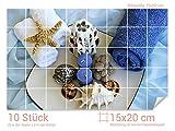 Graz Design 761002_15x20_50 Fliesenaufkleber Kerzen und Muscheln für Kacheln | Bad-Fliesen mit Folie überkleben (Fliesenmaß: 15x20cm (BxH)//Bild: 75x50cm (BxH))