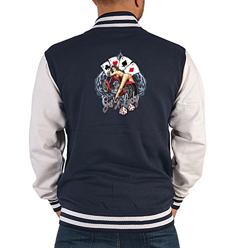 US Men-Boy College giacca-Poker e Dadi-motivo sul retro navy-blu XXL