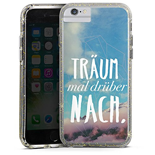 Apple iPhone 6s Bumper Hülle Bumper Case Glitzer Hülle Traeume Spruch Statement Bumper Case Glitzer gold