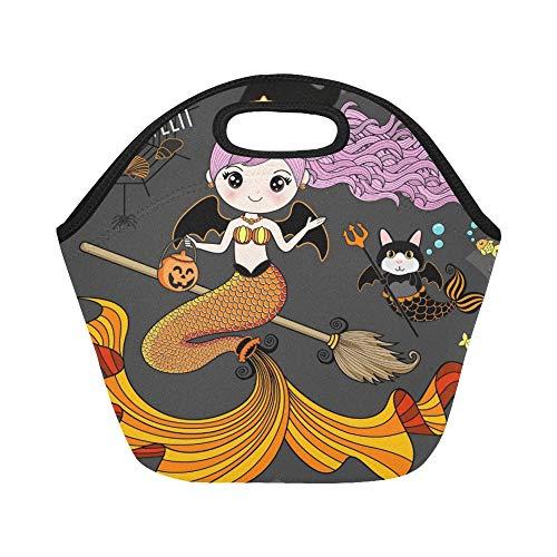Isolierte Neopren-Lunchpaket-Meerjungfrau, die Halloween-Kostüm-große wiederverwendbare thermische starke Mittagessen-Einkaufstaschen für Brotdosen für draußen, Arbeit, Büro, Schule - Tote Meerjungfrau Kostüm