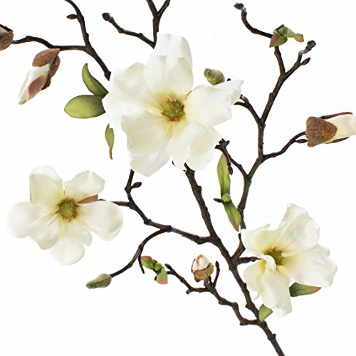 artplants Kunstblume Magnolienzweig LILO, 4 Blüten, Knospen, Creme-weiß, 75 cm – Seidenblumen Magnolie/Kunstzweig