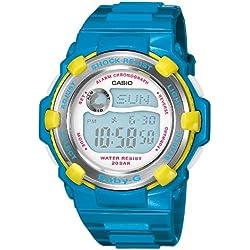 CASIO Baby-G BG-3001A-2ER - Reloj de mujer de cuarzo, correa de resina color azul claro (con cronómetro, alarma, luz)