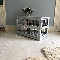 Jaula de madera gris, para perro, con puerta corrediza
