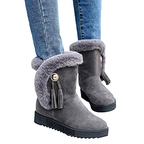 WHSHINE Mode Stiefeletten Damen Schuhe Schnee Stiefel Winter Knöchel Stiefel Frauen Runder Kopf...