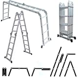 MAXCRAFT Multi-purpose Aluminium Ladder Scaffold Ladder Multifunction Folding Ladder up to 150 kg certified EN-131 - Length 4.75 m
