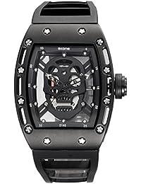longqi Armbanduhr Piraten-Totenkopf Skelett Herren Quarz Armbanduhr Business Freizeit männlich Rechteck Zifferblatt Armbanduhr