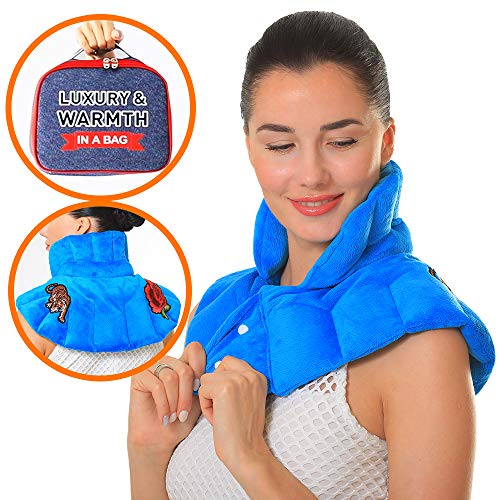 Pykal Luxuriöses Nacken Wärmekissen Mikrowelle für Hals & Schulter mit Gratis Aufbewahrungstasche | Feuchte Wärmetherapie mit Aromatherapie bei Hals- Und Muskelschmerzen, Migräne oder Stressabbau -