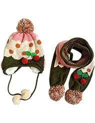 Tongshi Lindo sombrero de las lanas del bebé del invierno con capucha bufanda con orejeras Knit Cap Niño