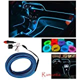 Ramanta™ EL Wire Car Interior Light Ambient Neon Light for Cars - 5 Meter Roll (ICE Blue, Pack of 1)