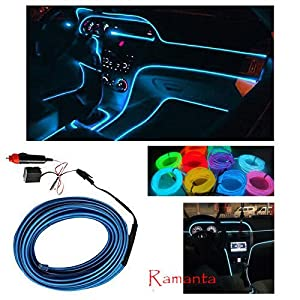 Ramanta® 5M Neon LED Light Glow EL Wire String Strip Rope Tube + 12V Power Inverter Kit for Land Rover Range Rover Evoque – Ice Blue