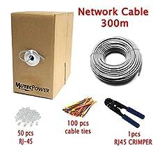 Multi-Cable - Haute Qualité Cat5e Câble Réseau Ethernet - CCA - RJ45-300 mètres vec Un Pince à sertir et Attaches de câble - Gris - UTP