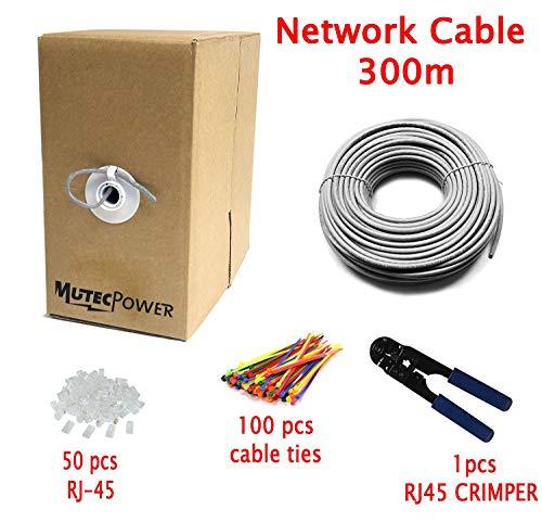 Multi- Netzwerk Patchkabel 300M Cat6 UTP - 24 AWG - Ethernet - 250 MHZ - Netzwerkkabel - Mit Crimpzange -50 RJ45 PCS - 300 Meter