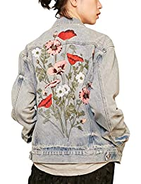 Elf sack Damen Jeansjacke Sequins Patches Asymmetrische Oversize Casual  Ripped Übergangsjacke Denim Jacket 52a08688be