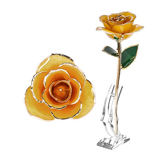 Rosa cristal de roca rosebud con 24K tallo de oro - regalo ideal para