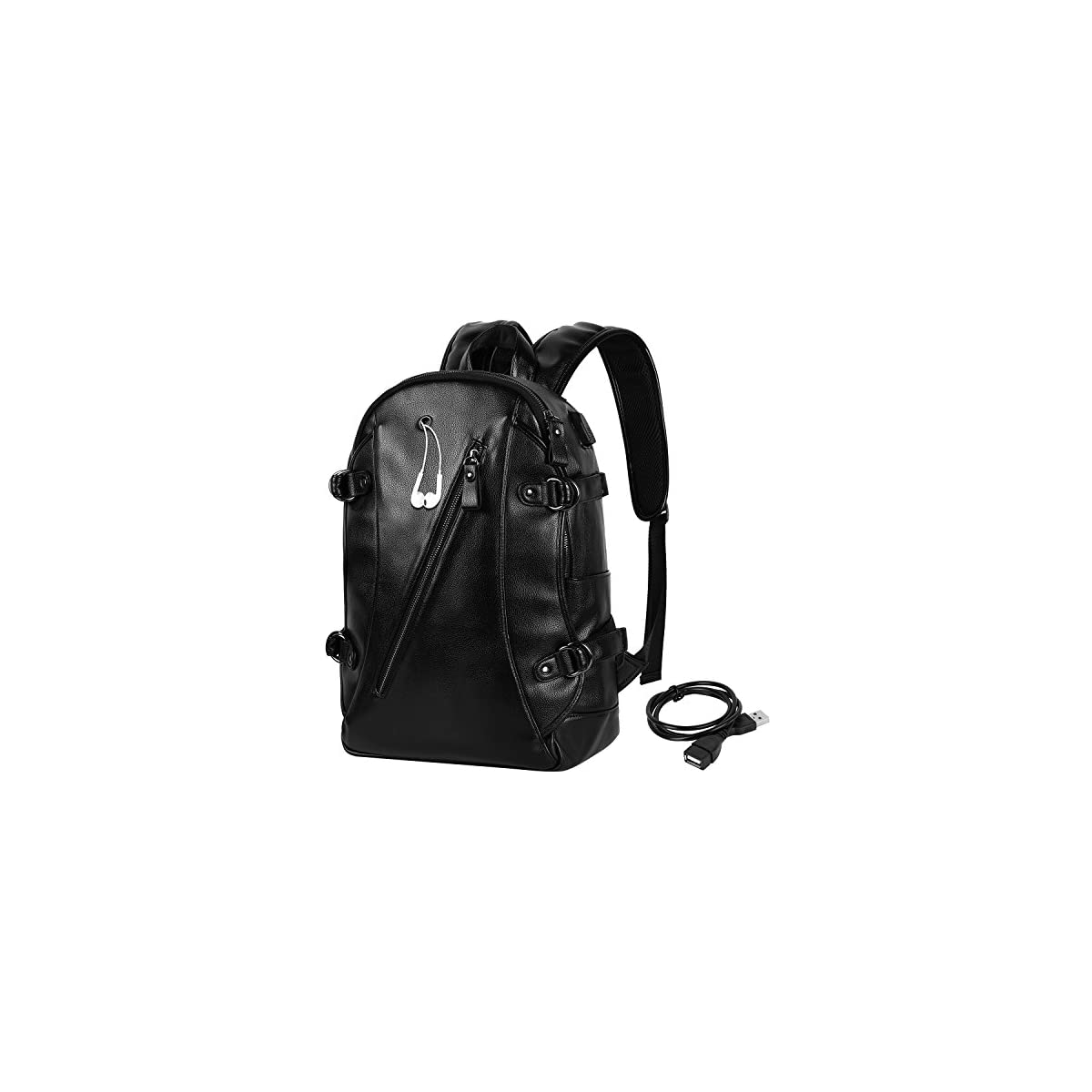 51cGJaQ78aL. SS1200  - VBG VBIGER Mochila para Hombre, de Piel sintética, de 15.6 Pulgadas, para Laptop, Vintage, Casual, Mochila de Viaje, Mochila Escolar con Puerto de Carga USB