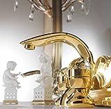 Casa Padrino Luxus Bad Zubehör - Jugendstil Retro Waschtisch Armatur Einlochbatterie Gold Serie Cristallo - Made in Italy