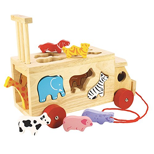 Bigjigs Toys Animal Shape Lorry – Wooden Shape Sorter Pull Along Toy
