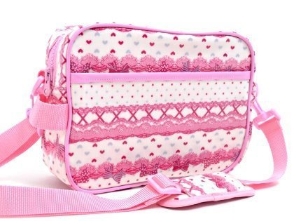 Pattern in the race and going to kindergarten kids bag shoulder bag ribbon Pretty cute (white) made in Japan N0515500 (japan import)