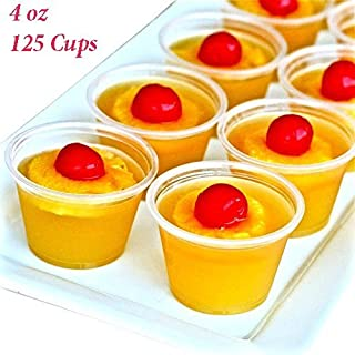 Adorox Clear Plastic Portion Cups with Lids Condiment Dips, Sauce, Jello Shots, Souffle, Disposable (4 oz (125 Cups))