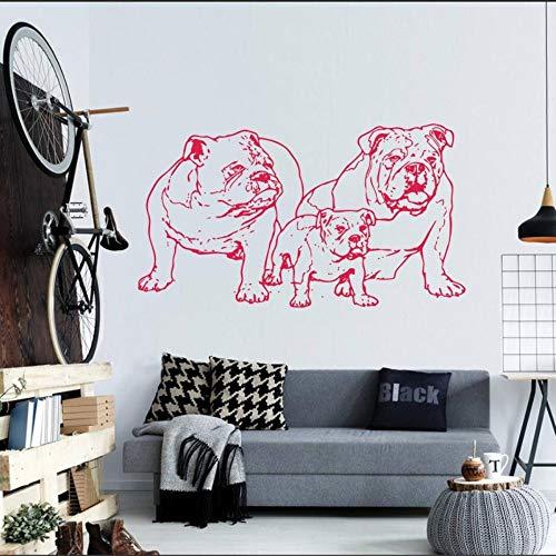 JJHR Wandtattoos Wandaufkleber Wandtattoo Aufkleber Bulldog Dog Puppy Breed Pet Tier Wandkunst Dekor Wohnzimmer Schlafzimmer Kindergarten DIY Poster 57 * 32 cm (Bulldog-gitarre)