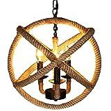 Retro E14 Pendelleuchte 3-Flammig Hanf Seil Pendellampe Industrielle Eisen Deckenlampe Runder Verstellbar HängeLampe für Wohnzimmer Schlafzimmer Restaurant Bar Ø35cm