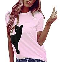 Geili Damen T Shirt Frauen Sommer Tägliche Nette Katze Print Rundhals Kurzarm T-Shirts Beiläufige Lose Tops Bluse... preisvergleich bei billige-tabletten.eu