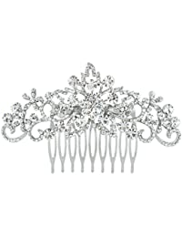e6669359a671 EVER FAITH® - Cristal Austriaco Elegante Novia Peineta Peine de Pelo Claro  Plata-Tono