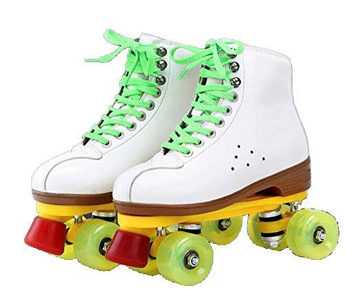 Ruedas de patinaje de rodillos de cuatro ruedas para adultos de interior/exterior , white , 39