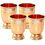 Prisha India Craft Solid Pure Copper Moscow Mule Mint Beaded Design Julep Cup Glass, Tumbler, Drinkware & Serveware | Capacity 500 ML | Set Of 4