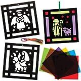 Baker Ross Kits de Adornos con imágenes del belén y Efecto de Cristal Tintado, Decoraciones y Manualidades Infantiles (Pack de 6).