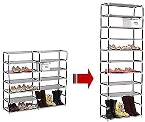 WOLTU® #172-1 Schuhschrank Faltschrank mit Stoffbezug , Stoffschrank Schuhablage Schuhregal Schuhständer , 11 Schicht , 60x29x175cm , Vier Farben (Creme)