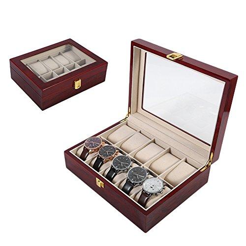 tlfyajj Caisse de bois de l'organisateur de stockage des bijoux de la boîte de présentation de l'horloge des grilles de luxe 10 rouge