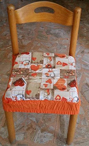 intimodagiovanni N.6 cuscini coprisedia quadrati universali sfoderabili con zip shabby chic arancione new style