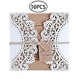 LUOEM Laser geschnittene Hochzeit Einladungen Karten hohlen Braut Einladungen Karten mit rustikalen Seil Umschläge für Verlobung Hochzeitstag Baby Shower Bridal Shower Geburtstagsparty (10 Pack)