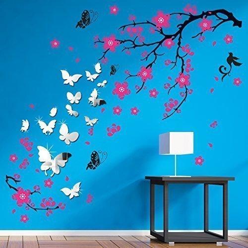 Rimovibile autoadesivo adesivi da parete rosa fiori farfalle specchio decalcomanie artistiche per muro vinile decorazione casa fai-da-te vivente camera letto carta parati cameretta bimbi regalo