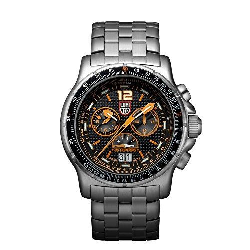 Luminox F-35 LIGHTNINGTM II Chronograph Men's Quartz watch with Black dial featuring LLT Luminox light Technology 44 millimeters Stainless Steel case and Silver Stainless Steel Bracelet XA.9382