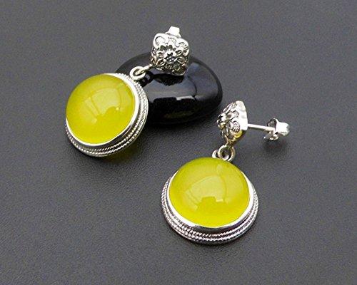 Mkxiaowei 925 puro bianco fungo chiodo giallo agata orecchini rosso corindone orecchio unghie pietra preziosa rotonda orecchini lady gift