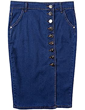 Elwow Women's Sexy Skinny Skinny Front Split Midi hasta la rodilla Bolsillos Stretch Jeans Falda con botones hasta...
