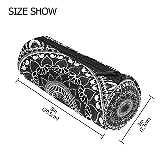 TIZORAX – Estuche de mandala con cremallera, diseño de flores étnicas, color negro