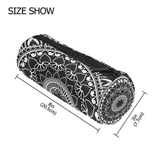 TIZORAX - Estuche de mandala con cremallera, diseño de flores étnicas, color negro