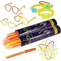 Pulseras luminosas, Pack de 200 Pulseras fluorescentes glow pack multicolor, Varitas Luminosas para Fiestas 20 cm - pulseras, collares, kits para crear gafas