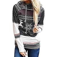 Hanomes Damen pullover, Weihnachtsfrauen Dots Elk Snowflake Print Tops Kapuzenpullover Pullover Bluse preisvergleich bei billige-tabletten.eu