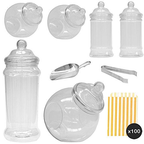 Vintage Viktorianischer Pick & Mix Candy Buffet Kit - 6 Jar Pack & Gold Streifen Staubbeutel ... - Süßigkeiten Candy Jar
