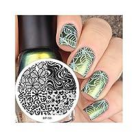 Placas de Sello para Diseño de Uñas Manicura Arte Plantillas de Impresión con Patrones Heart Shape & Leave Texture Nail Art Stamping Template Image Plate BORN PRETTY BP50