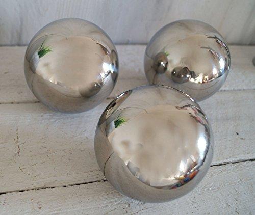 3 x Dekokugel Gartenkugel SET silber rostfrei Edelstahl + 1 x Holzherz weiss (2)