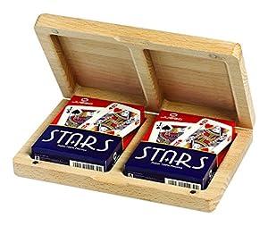 Juego Quercia - Estuche de cartas de madera I Juego de cartas poker - Leño
