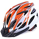 Coromose Bicycle Helmet Integrated Molding Breathable Cycling Helmet for Man Woman Orange White Free Size
